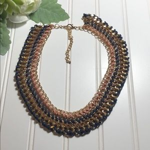 Jewelry - Unique leather and gold woven necklace